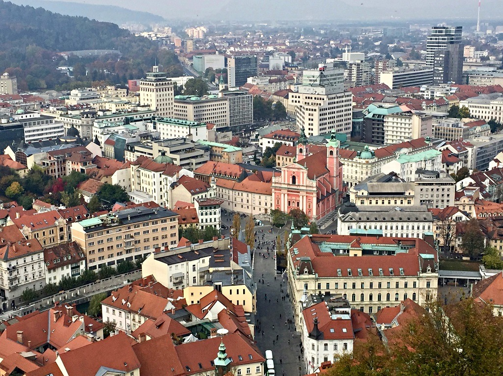 The view of the city from the Ljubljana castle