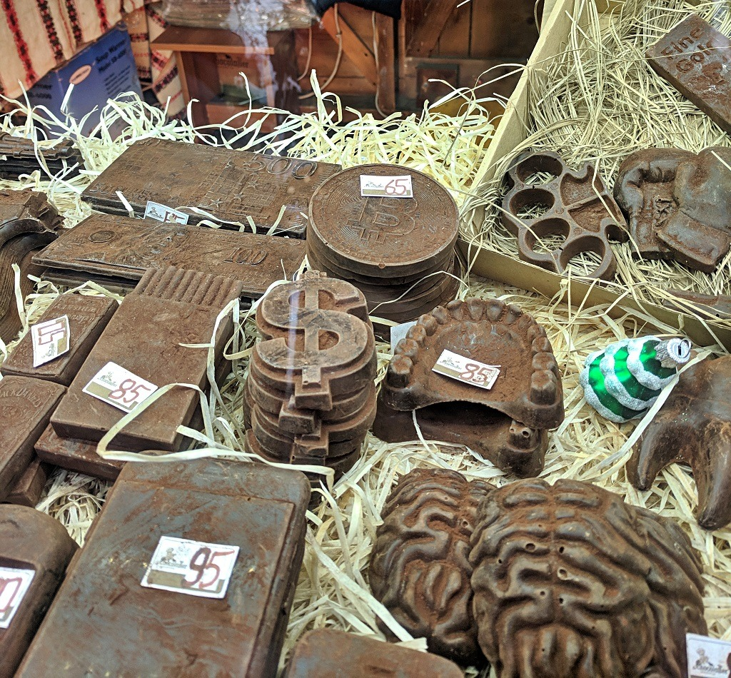 Winter market. Everything is made of chocolate