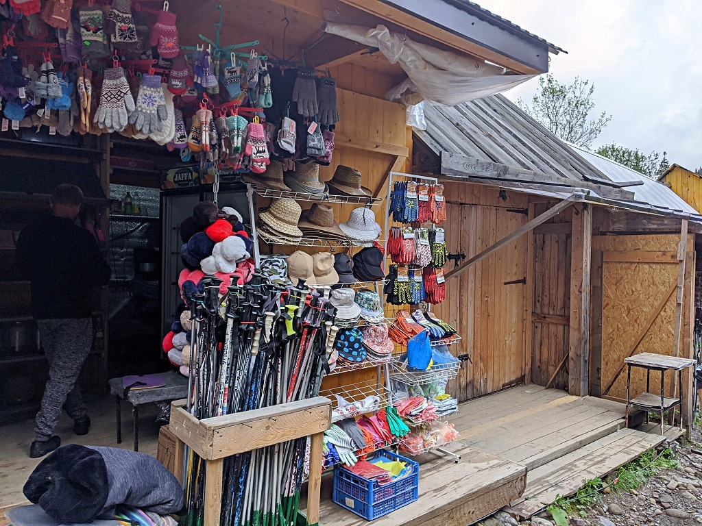 You can buy hats, gloves and rent sticks for hiking Hoverla