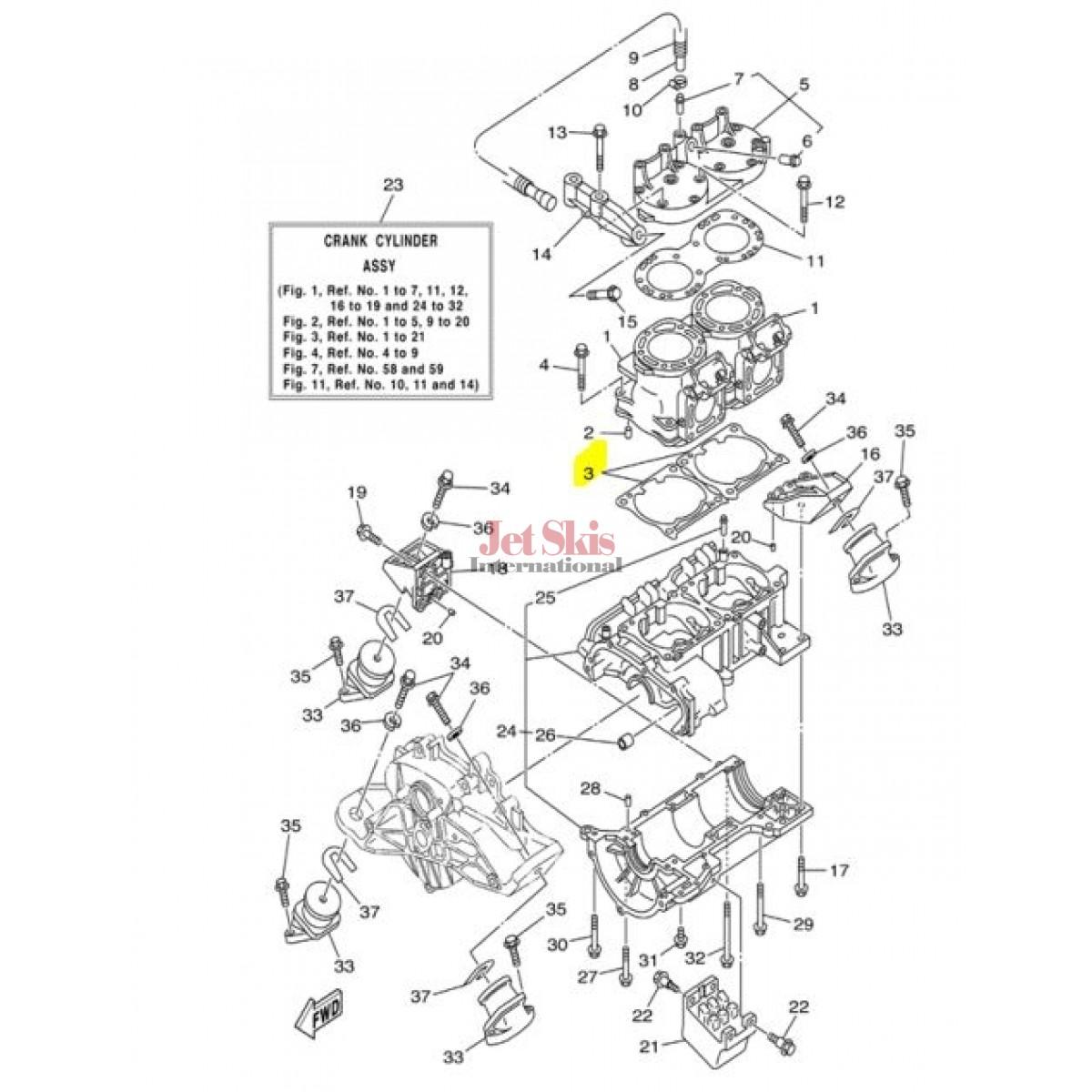 Yamaha 66e 02 00 Cylinder Gasket