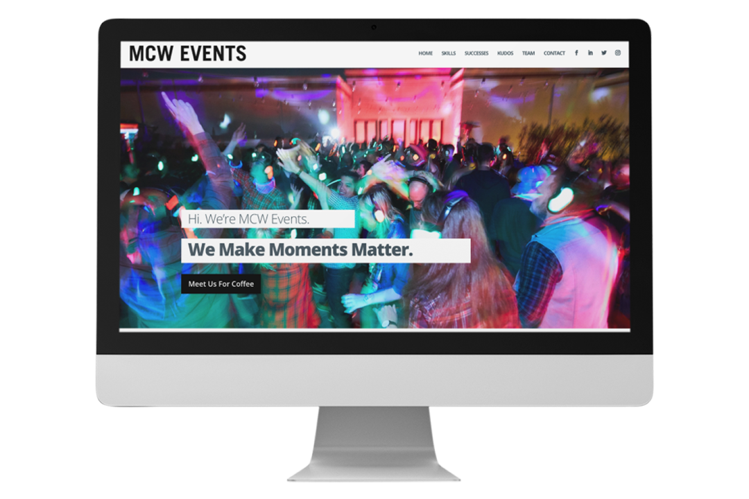 MCW Events website on an iMac with transparent background