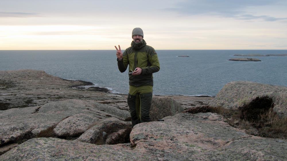 Anders loggar högt uppe på Sote Bonde. Den har jag velat logga i flera år - äntligen!