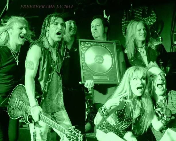 Gregg Fox, Jason Ebs, Barry Barnes, Let Warner, Doug Aldrich, Jane a Chadwicks Ebs, and Steve Eggleston...so much fun! RockGodz Hall of Fame Award Ceremony #1 at Count's Vamp'd 7-30-14