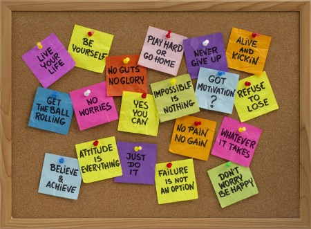 motivational reminders on bulletin board