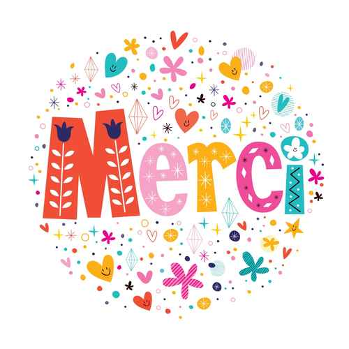 Word Merci Thanks in French typography lettering text card