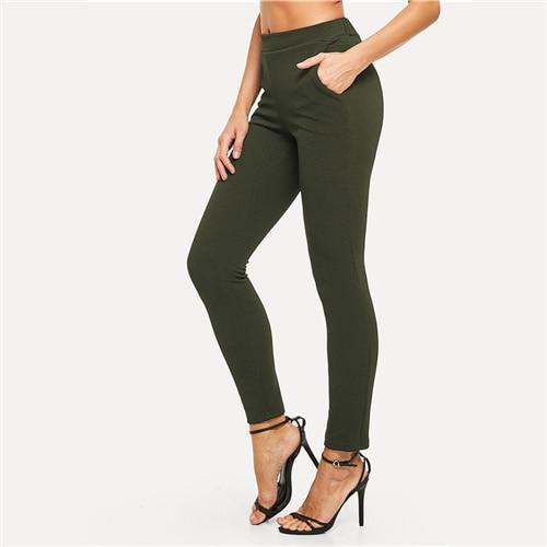 Elastic Waist Mid Waist Skinny Trousers Autumn Office Lady Elegant Slim