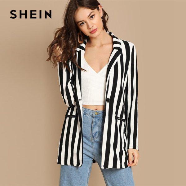 Black And White Notch Collar Striped Textured Blazer Women
