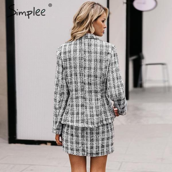 Tweed plaid two-pieces women skirt suit Casual suits female blazer