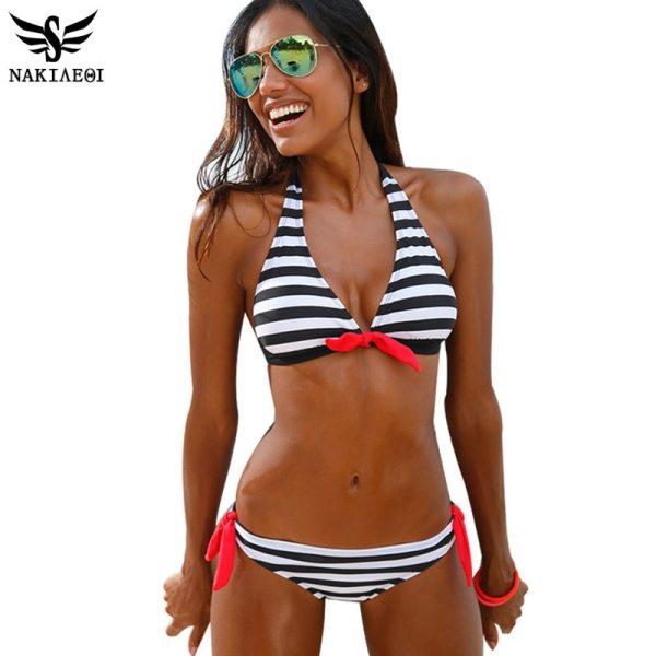 Sexy Bikinis Women Swimsuit Swimwear Halter Top Plaid Summer Beach Wear