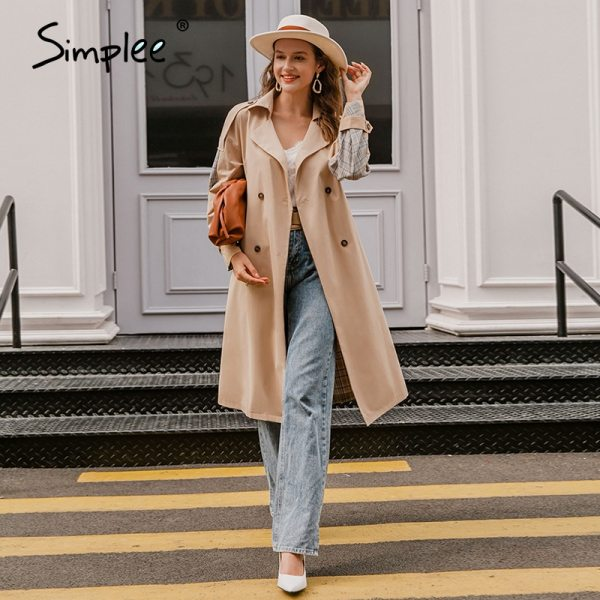women trench coat Split joint elegant long sleeve coat Plaid long coat with belt windbreaker
