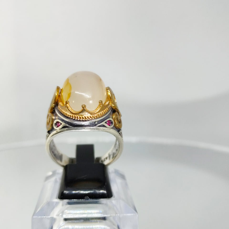 Natural Silver Ring 925 Natural Agate 2 natural gemstones pakistan + 925 silver jewelry online
