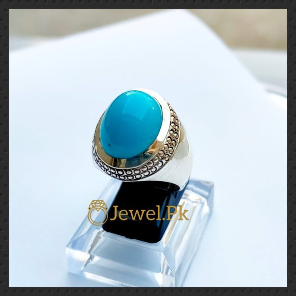 natural turquoise ring 925 silver + chandi + feroza