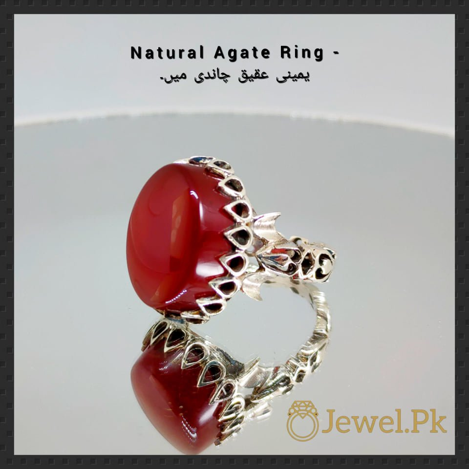 Natural agate rings in silver 925 bu online in pakistan