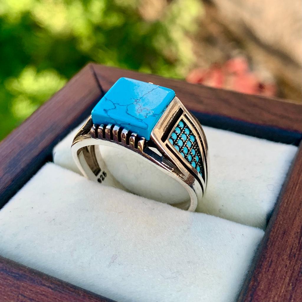 Turkish Turquoise Ring 925 Silver Handmade Feroza Ring