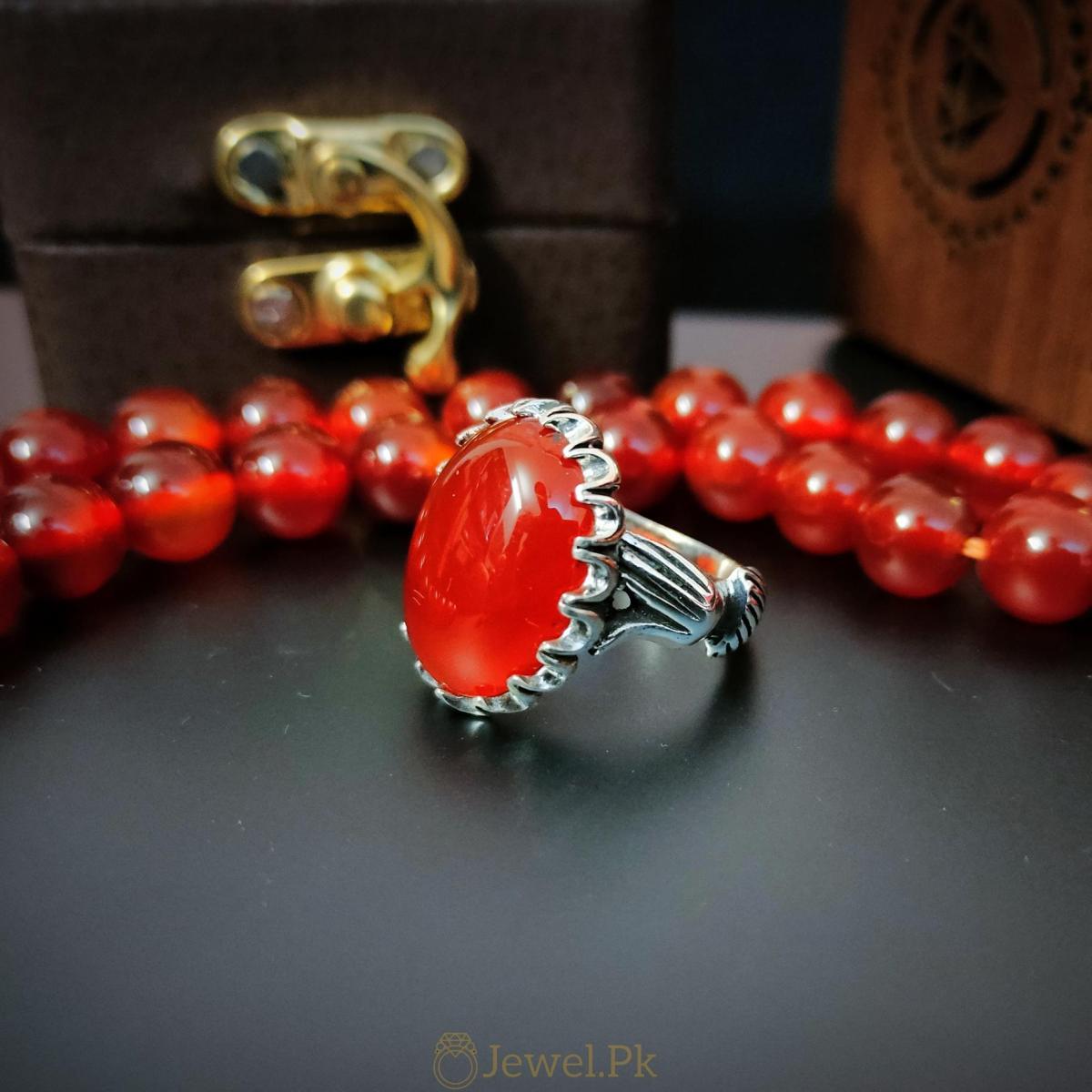 Beautiful Red Aqeeq Ring Yemeni Aqeeq Agate ring buy online 925 Silver Handmade Ring 5 natural gemstones pakistan + 925 silver jewelry online