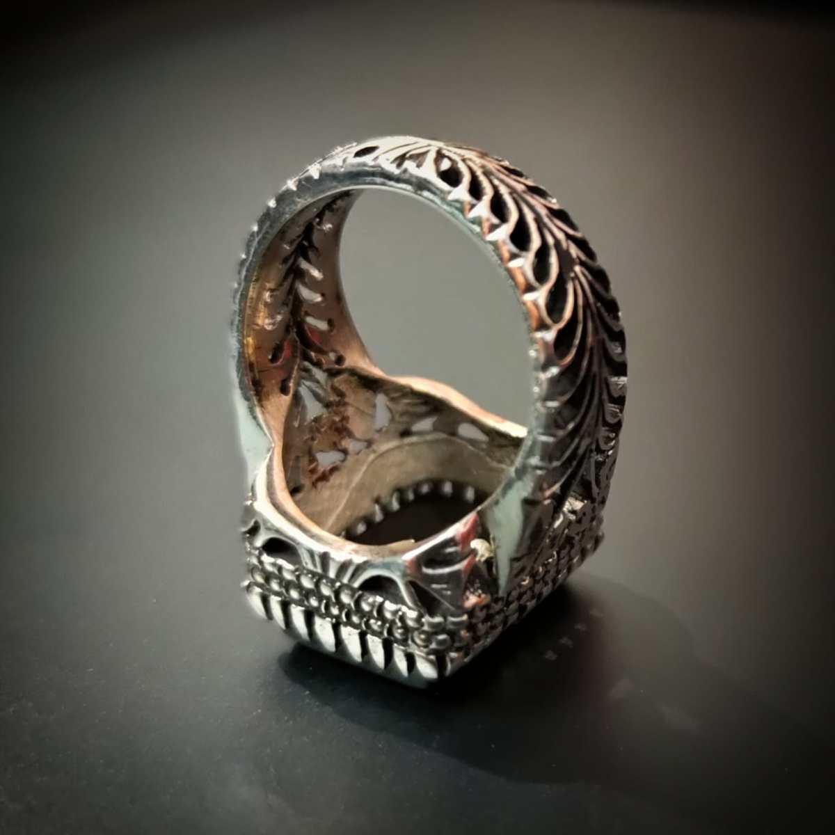 Black Aqeeq 925 Silver Handmade Ring 2 natural gemstones pakistan + 925 silver jewelry online
