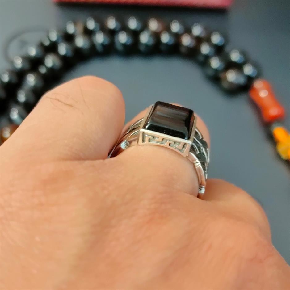 Black Aqeeq Ring 5 natural gemstones pakistan + 925 silver jewelry online