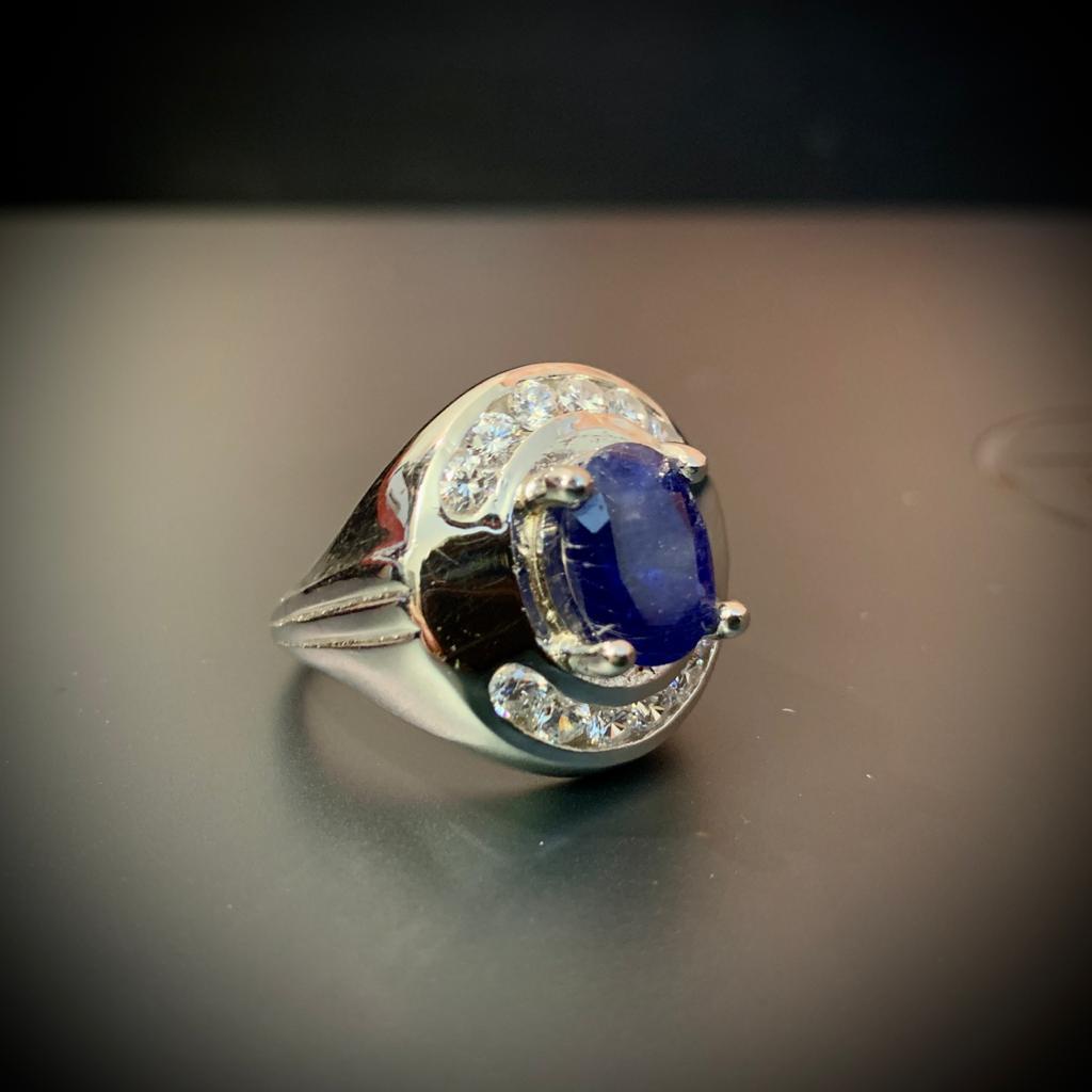 Natural Blue Sapphire Ring Neelum Ring Handmade