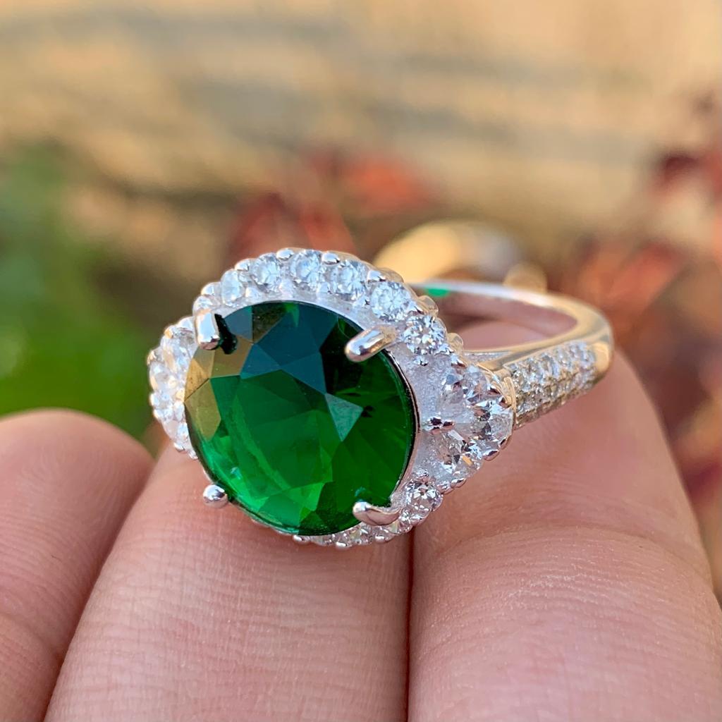 Green Zircon Handmade Silver 925 Chandi ring for ladies woman in pakistan 1 natural gemstones pakistan + 925 silver jewelry online