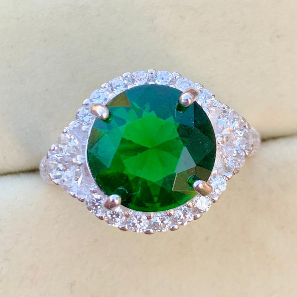 Green Zircon Handmade Silver 925 Chandi ring for ladies woman in pakistan 2 natural gemstones pakistan + 925 silver jewelry online