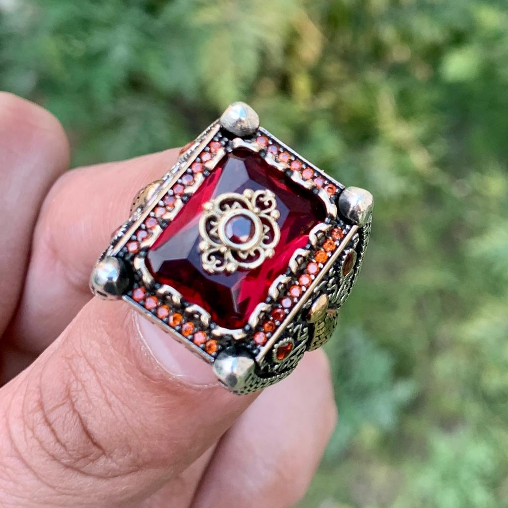 Luxury Turkish Ring 925 Silver Chandi Online Pakistan 10 natural gemstones pakistan + 925 silver jewelry online