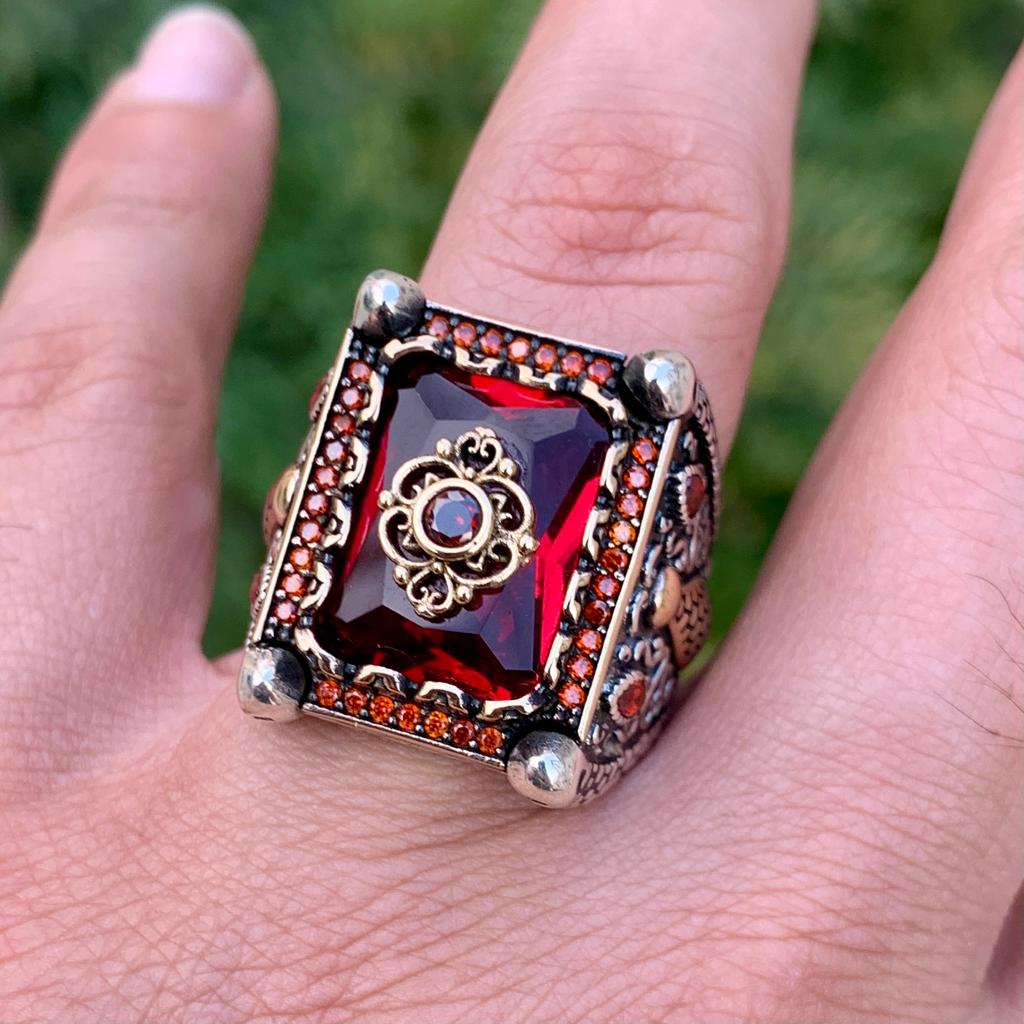 Luxury Turkish Ring 925 Silver Chandi Online Pakistan 5 natural gemstones pakistan + 925 silver jewelry online