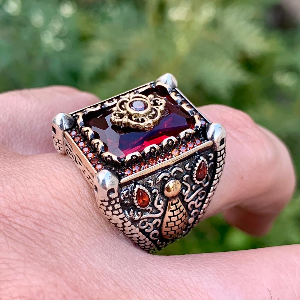 Luxury Turkish Ring 925 Silver Chandi Online Pakistan 6 natural gemstones pakistan + 925 silver jewelry online