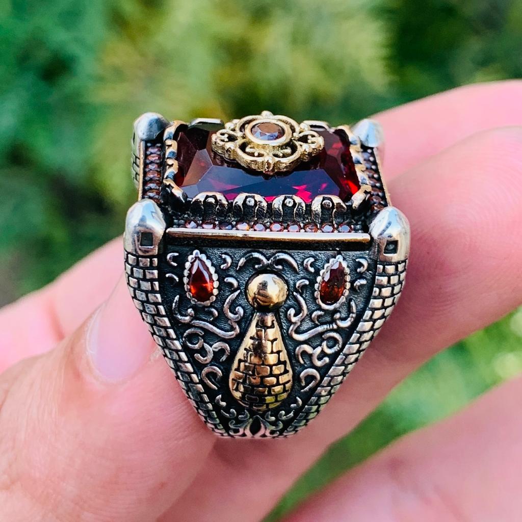 Luxury Turkish Ring 925 Silver Chandi Online Pakistan 8 natural gemstones pakistan + 925 silver jewelry online