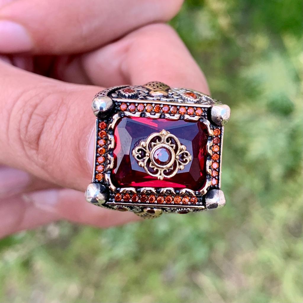 Luxury Turkish Ring 925 Silver Chandi Online Pakistan 9 natural gemstones pakistan + 925 silver jewelry online
