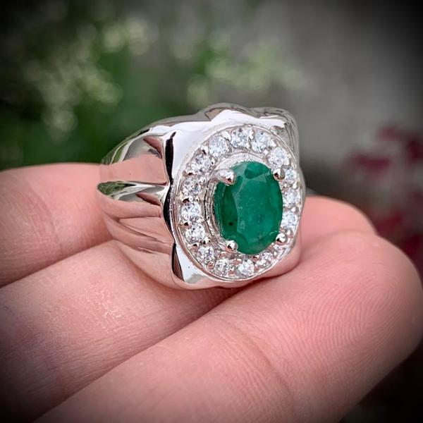 Emerald Ring - Handmade 925 Silver Beautiful
