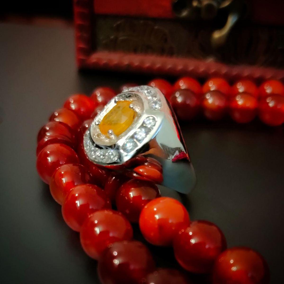 Dark Yellow Sapphire Ring