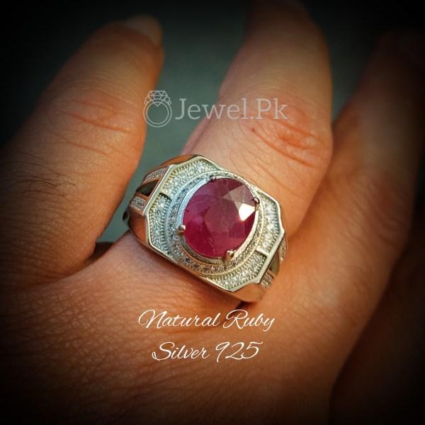 Natural Ruby Ring - 925 Silver Handmade
