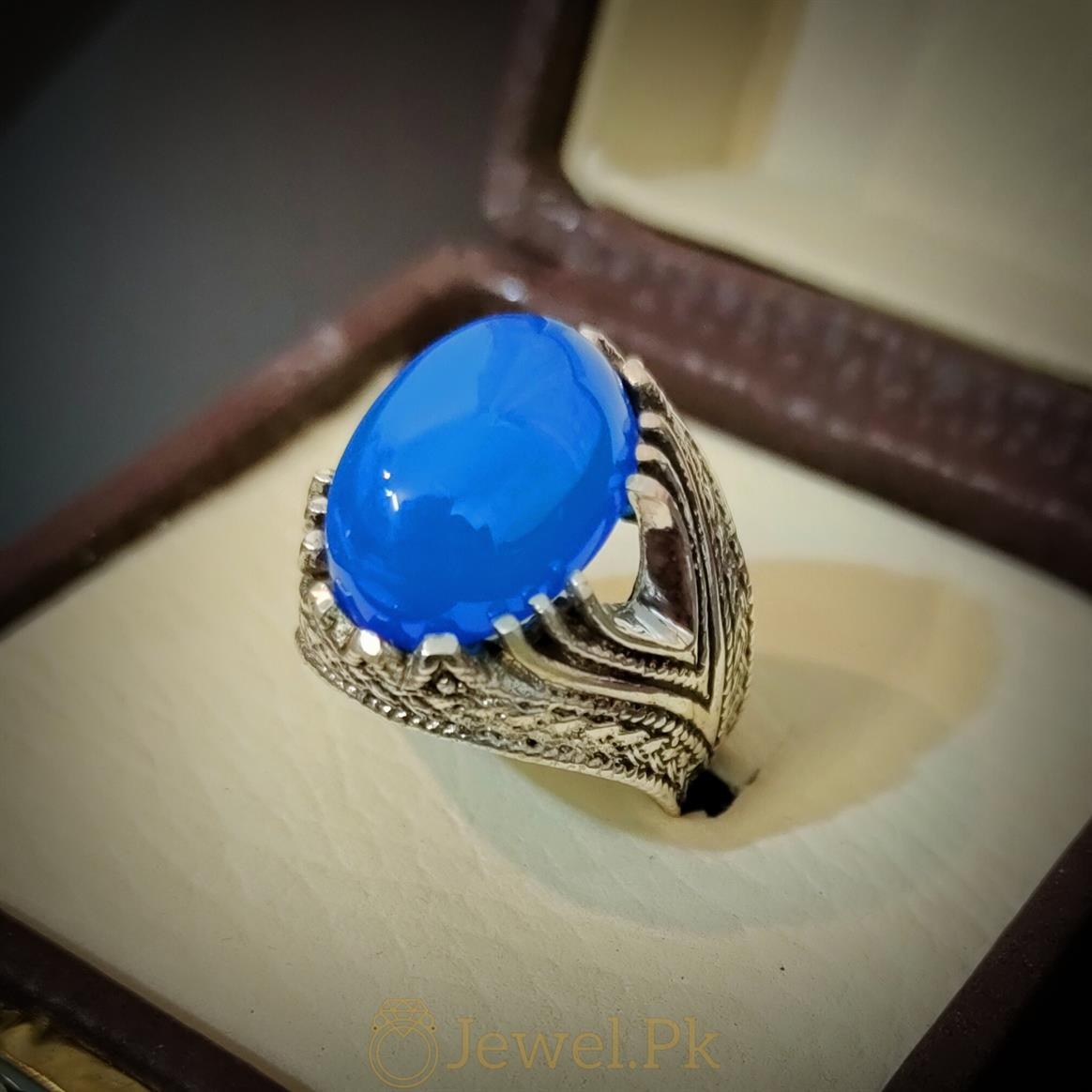 Rare Blue Aqeeq Ring Beautiful and Luxury Turkish Ring 3 natural gemstones pakistan + 925 silver jewelry online