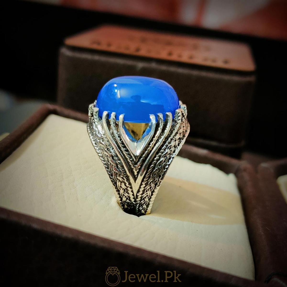 Rare Blue Aqeeq Ring Beautiful and Luxury Turkish Ring 4 natural gemstones pakistan + 925 silver jewelry online