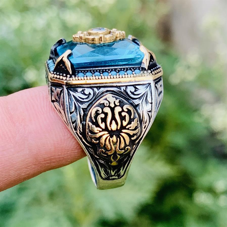 Turkish Rings Luxury 925 Silver 6 natural gemstones pakistan + 925 silver jewelry online