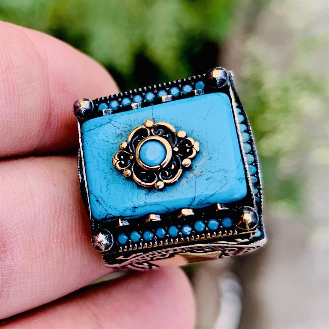 Turkish Rings Luxury 925 Silver 8 natural gemstones pakistan + 925 silver jewelry online