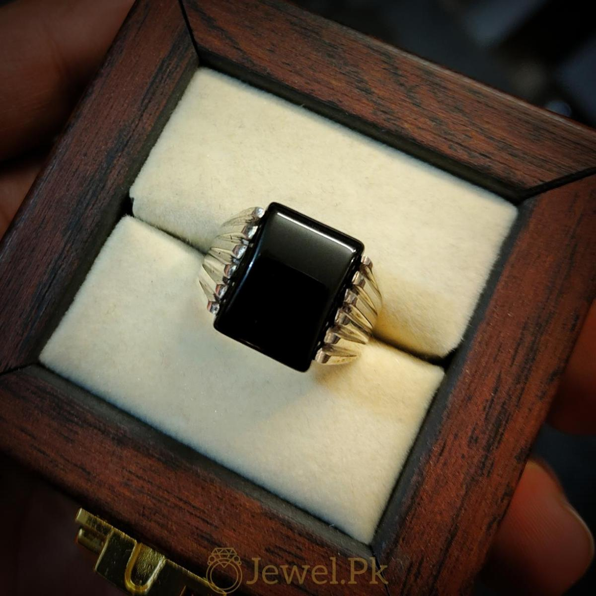 Very Decent Black Aqeeq Ring for man Decent and Beautiful 6 natural gemstones pakistan + 925 silver jewelry online