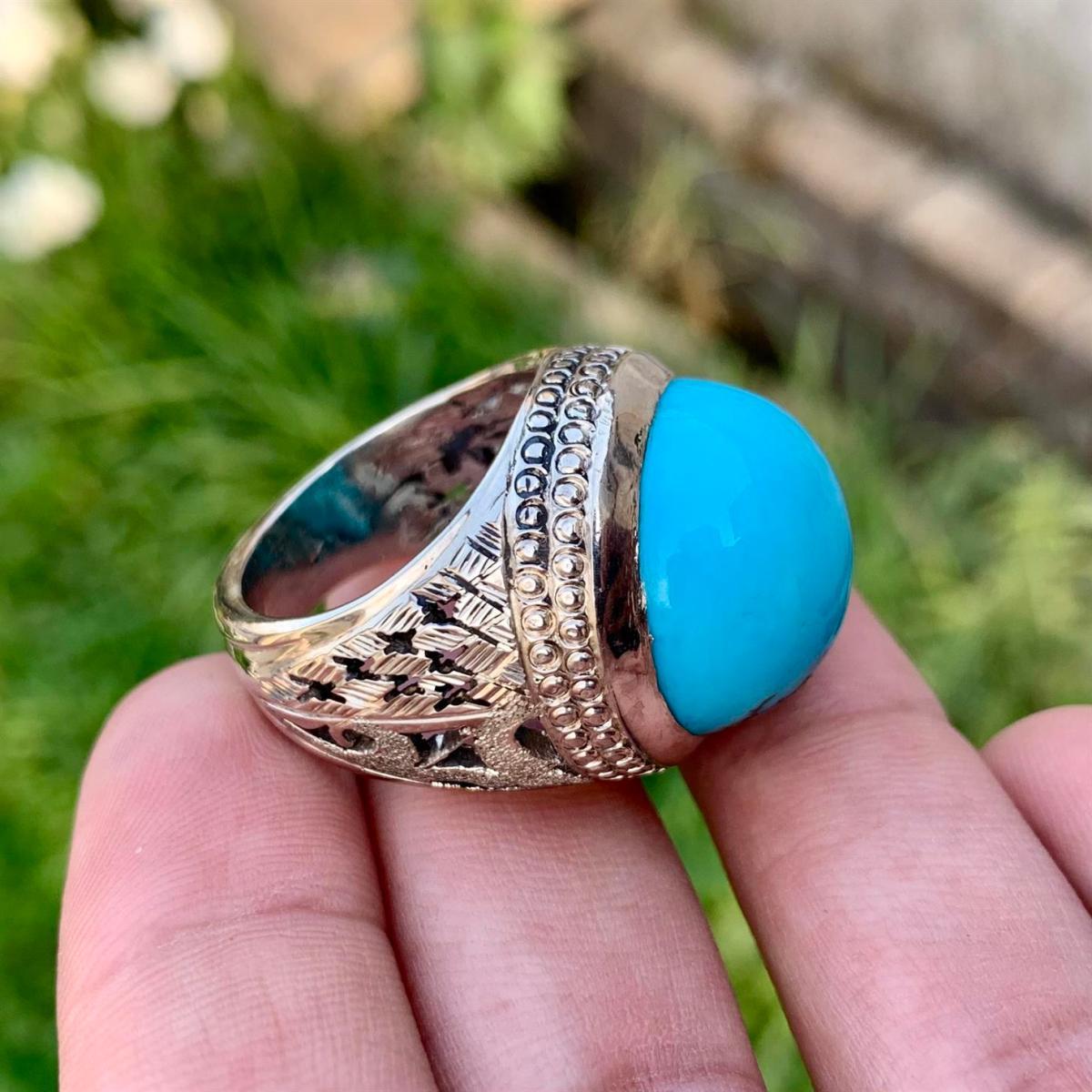 Beautiful Big Nishapuri Feroza Blue Turquoise Round Ring online in Pakistan 6 natural gemstones pakistan + 925 silver jewelry online