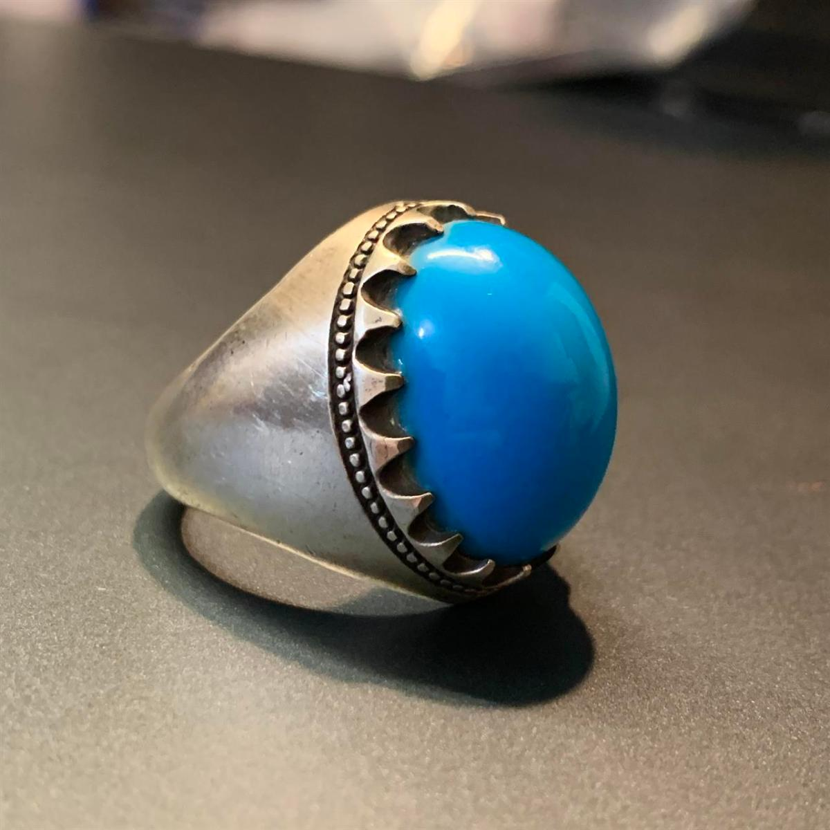 rare dark blue feroza ring