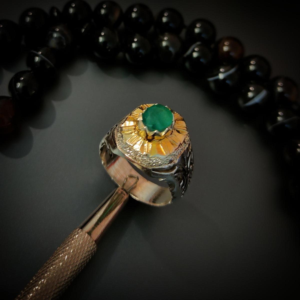 Natural Emerald Ring Handmade 925 Silver Zambian Emerald Zamurd Ring 5 natural gemstones pakistan + 925 silver jewelry online