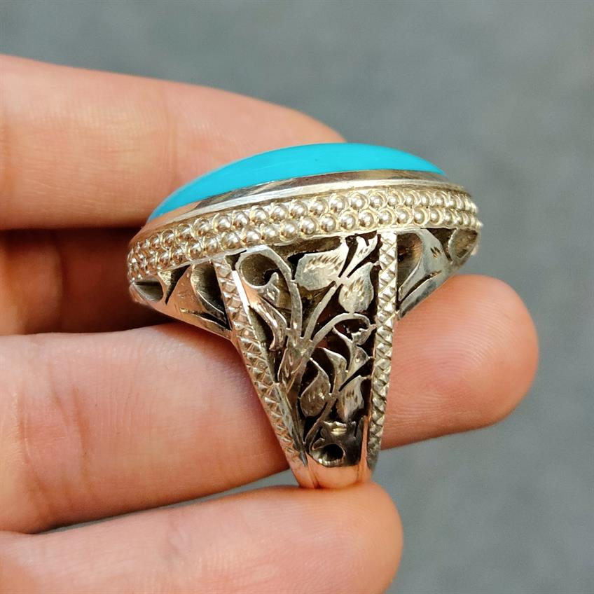 Natural Turquoise Feroza Ring Handmade Nishapur Feroza Ring 11 natural gemstones pakistan + 925 silver jewelry online