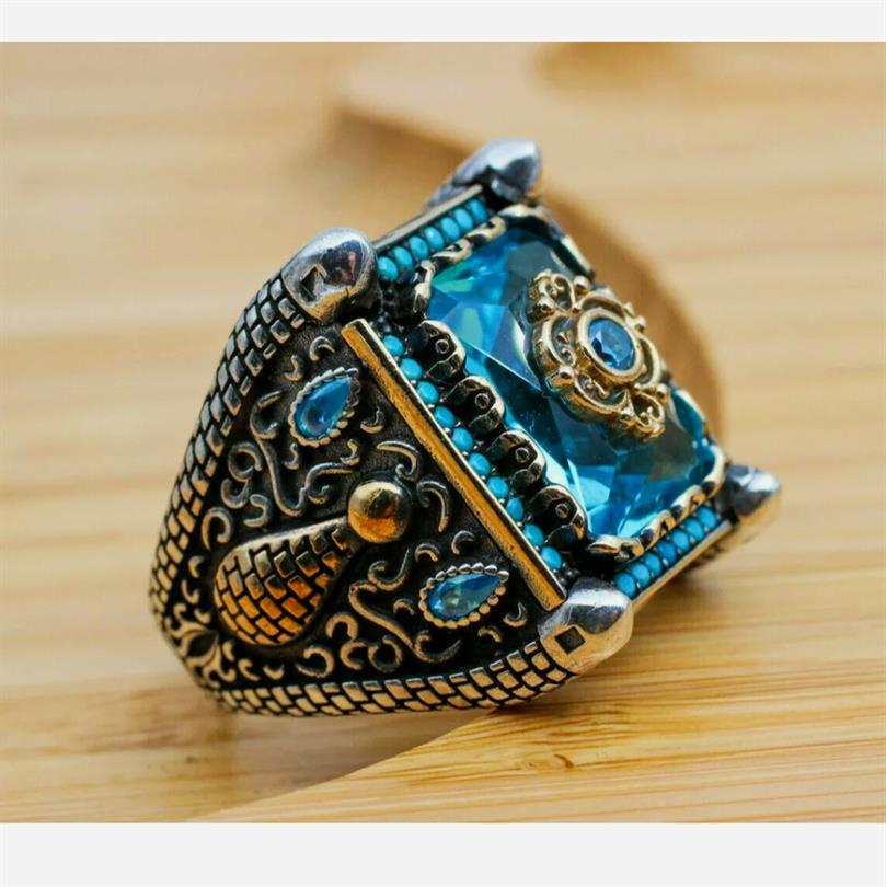 Turkish Ring 925 Sterling Silver Amazing Stunning Onyx Rings 5 natural gemstones pakistan + 925 silver jewelry online