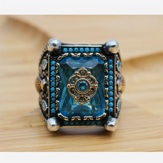 Turkish Ring 925 Sterling Silver Amazing Stunning Onyx Rings 6 natural gemstones pakistan + 925 silver jewelry online