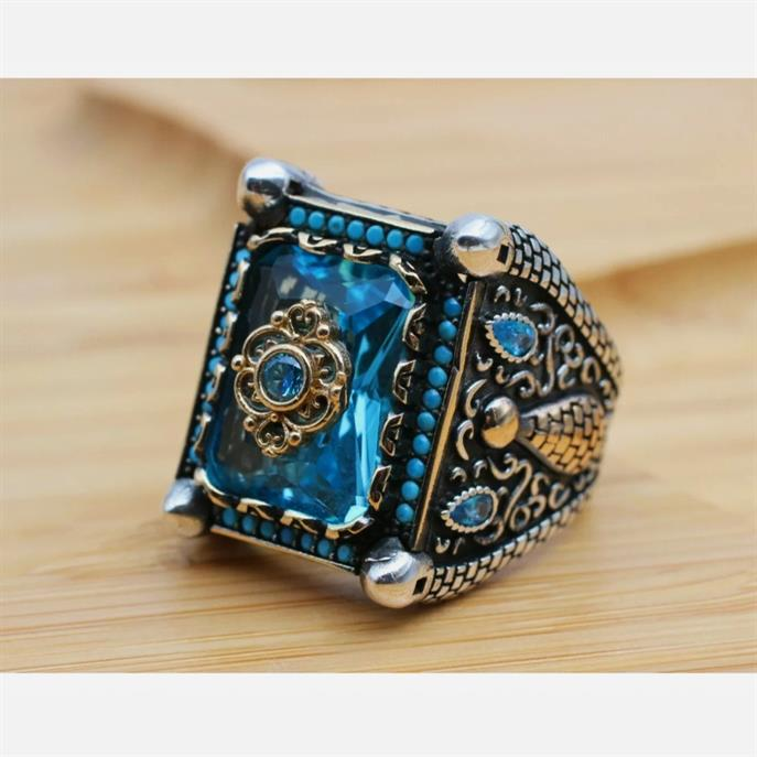 Turkish Ring 925 Sterling Silver Amazing Stunning Onyx Rings 7 natural gemstones pakistan + 925 silver jewelry online