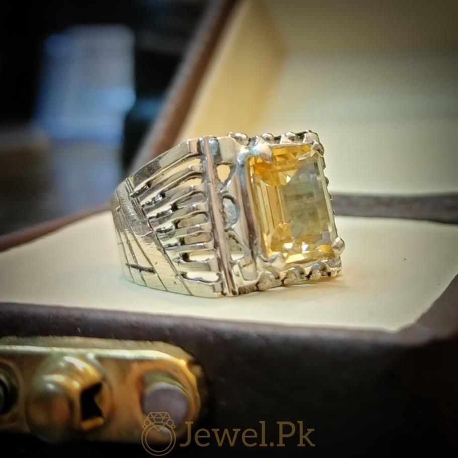 Yellow Citrine Lemon Quartz Stone Ring 3 natural gemstones pakistan + 925 silver jewelry online