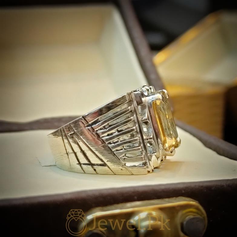 Yellow Citrine Lemon Quartz Stone Ring 4 natural gemstones pakistan + 925 silver jewelry online