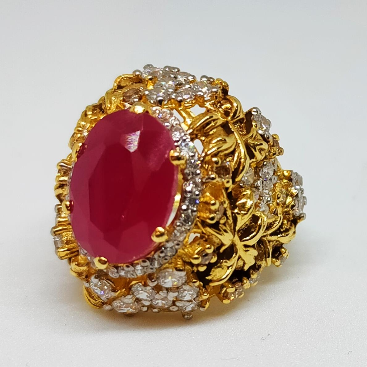 Gold Plated 925 Silver Ring Italian 2 natural gemstones pakistan + 925 silver jewelry online