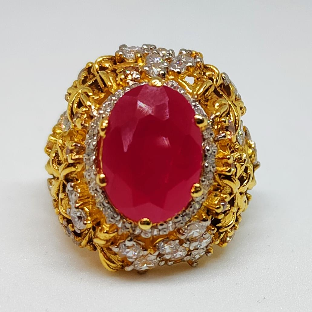 Gold Plated 925 Silver Ring Italian 3 natural gemstones pakistan + 925 silver jewelry online