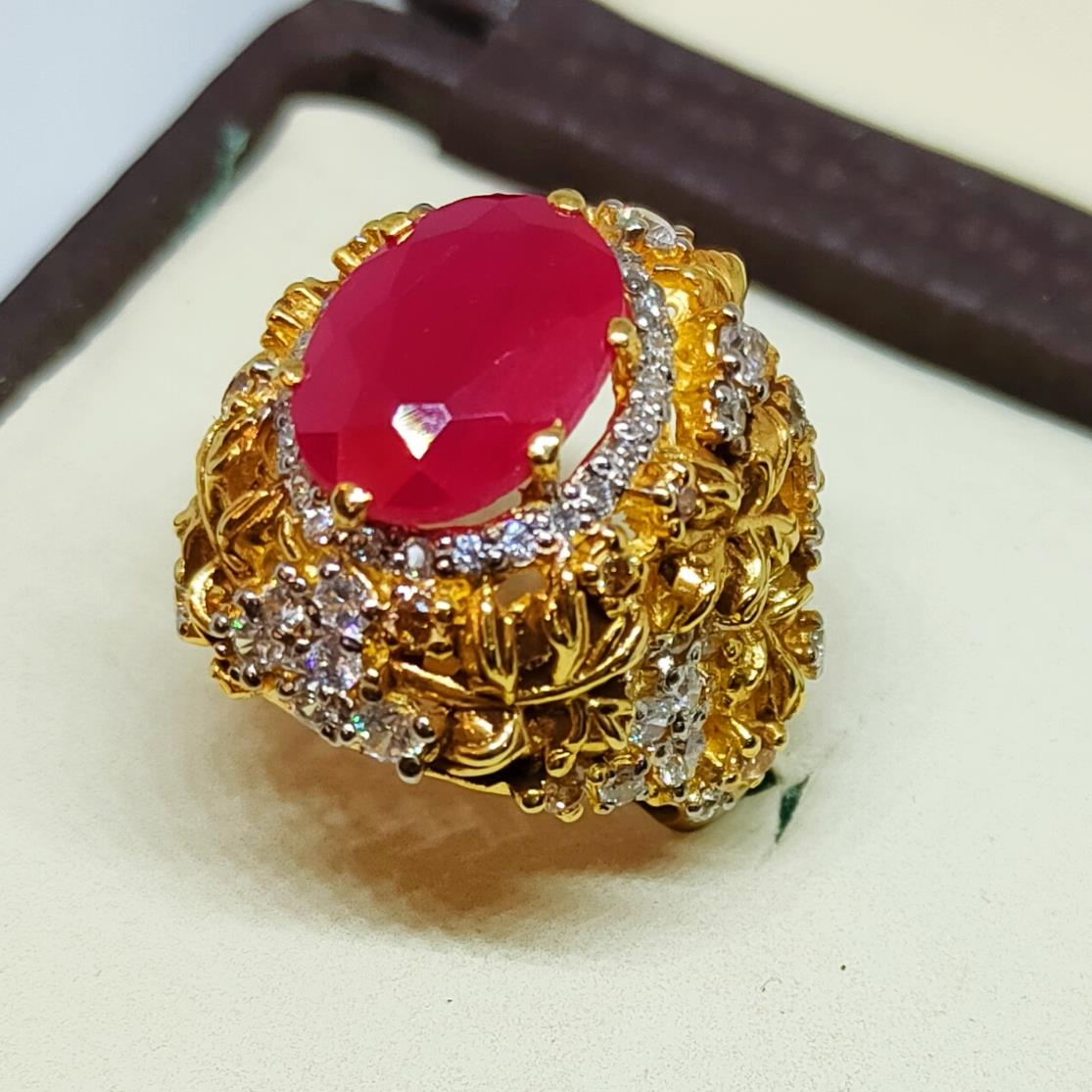 Gold Plated 925 Silver Ring Italian 5 natural gemstones pakistan + 925 silver jewelry online