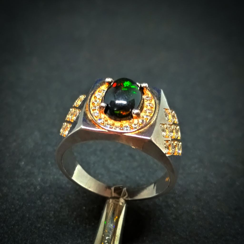 Natural Ethiopian Fire Opal Ring - Black Opal Ring